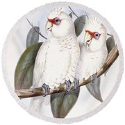 Long-billed Cockatoo Round Beach Towel