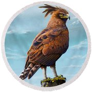 Long Crested Eagle Round Beach Towel by Anthony Mwangi