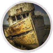 Long Forgotten Boat Round Beach Towel