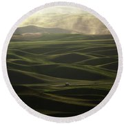 Round Beach Towel featuring the photograph Long Haul by Bob Cournoyer