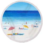 Long Hot Summer Round Beach Towel by Jan Matson