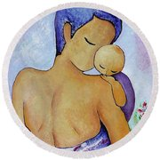Round Beach Towel featuring the painting Long Impasto Motherhood Vertical Painting  by Gioia Albano