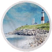 Long Island Lighthouse Round Beach Towel