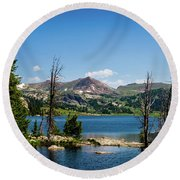 Round Beach Towel featuring the photograph Long Lake Wyoming No. 2 by TL Mair