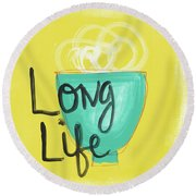 Long Life Noodles- Art By Linda Woods Round Beach Towel