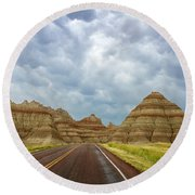 Long Lonesome Highway Round Beach Towel