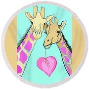 Long Neck Love Round Beach Towel by Susie Cunningham