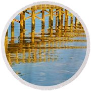 Long Wooden Pier Reflections Round Beach Towel