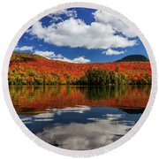 Long Pond And Clouds Round Beach Towel