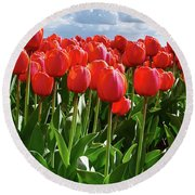 Long Red Tulips Round Beach Towel by Mihaela Pater