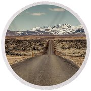 Long Road Ahead Round Beach Towel