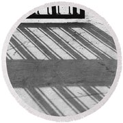 Round Beach Towel featuring the photograph Long Shadow Of Metal Gate by Prakash Ghai