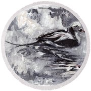 Long-tailed Duck Round Beach Towel