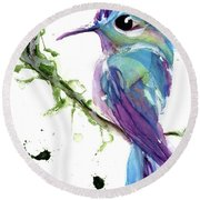 Round Beach Towel featuring the painting Long-tailed Sylph by Dawn Derman