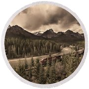 Round Beach Towel featuring the photograph Long Train Running by John Poon