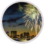 Long Warf Fireworks 1 Round Beach Towel by Mike Ste Marie