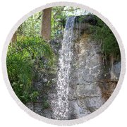 Round Beach Towel featuring the photograph Long Waterfall Drop by Raphael Lopez