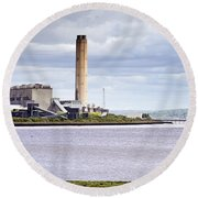 Round Beach Towel featuring the photograph Longannet Power Station by Jeremy Lavender Photography
