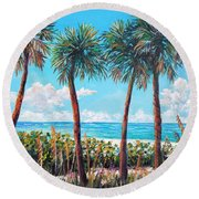 Longboat Key Palms Round Beach Towel by Lou Ann Bagnall