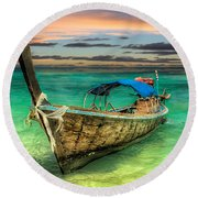Longboat Sunset Round Beach Towel