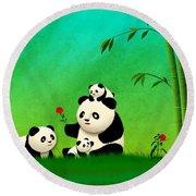 Longevity Panda Family Asian Art Round Beach Towel
