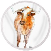 Longhorn 1 Watercolor Painting By Kmcelwaine Round Beach Towel