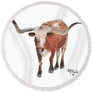 Longhorn 17 Big Daddy Watercolor Painting By Kmcelwaine Round Beach Towel