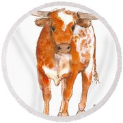 Texas Red Longhorn Watercolor Painting By Kmcelwaine Round Beach Towel