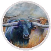 Round Beach Towel featuring the painting Longhorn Country by Karen Kennedy Chatham