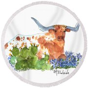 Longhorn In The Cactus And Bluebonnets Lh014 Kathleen Mcelwaine Round Beach Towel