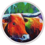 Round Beach Towel featuring the painting Longhorn Jewel by Karen Kennedy Chatham