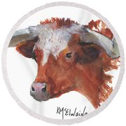 Longhorn Portrait Lh006 Watercolor Painting By Kmcelwaine Round Beach Towel