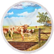 Longhorn Stand Off Your Place Or Mine Round Beach Towel