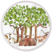 Longhorns In The Shade Lh015 By Kmcelwaine Round Beach Towel