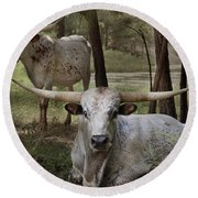 Longhorns On The Watch Round Beach Towel