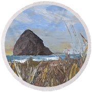 Longing For The Sounds Of Haystack Rock Round Beach Towel
