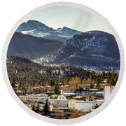 Longs Peak From Estes Park Round Beach Towel