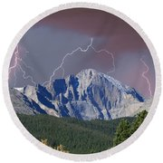 Longs Peak Lightning Storm Fine Art Photography Print Round Beach Towel