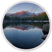 Longs Peak Reflection On Bear Lake Round Beach Towel