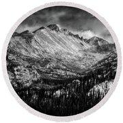 Longs Peak Rocky Mountain National Park Black And White Round Beach Towel