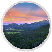 Longs Peak Sunset Round Beach Towel