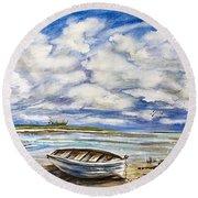 Lonley Boat 3 Round Beach Towel