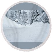 Round Beach Towel featuring the photograph Lonly Road- by JD Mims