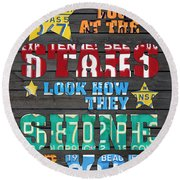 Look At The Stars Coldplay Yellow Inspired Typography Made Using Vintage Recycled License Plates Round Beach Towel by Design Turnpike