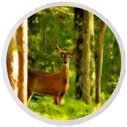 Look Deep Into Nature Round Beach Towel
