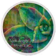 Round Beach Towel featuring the digital art Look Deeply 2017 by Kathryn Strick