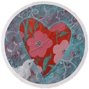 Round Beach Towel featuring the painting Look Into My Heart  by Robin Maria Pedrero