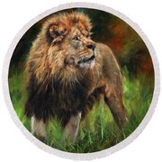 Round Beach Towel featuring the painting Look Of The Lion by David Stribbling