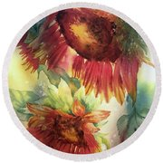 Look On The Sunny Side Round Beach Towel