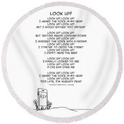 Round Beach Towel featuring the drawing Look Up by John Haldane